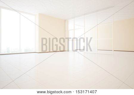 Bright unfurnished beige interior design with glass partition and window with city view. Side view 3D Rendering