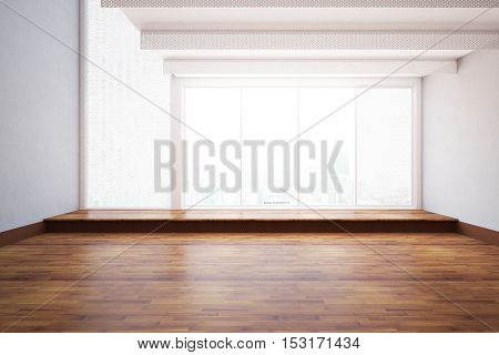 Front view of unfurnished interior with wooden floor mesh windows and city view. 3D Rendering