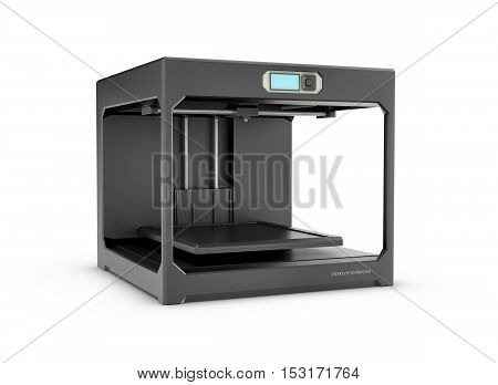 3d rendering of a black desktop 3d printer isolated on the white background. Office supplies. New technologies. 3d modeling.