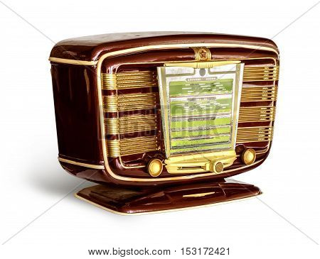 Antique red radio on a white background with clipping path