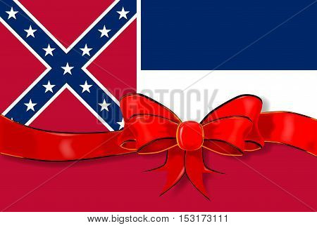 The flag of the USA state of Mississippi with red ribbon