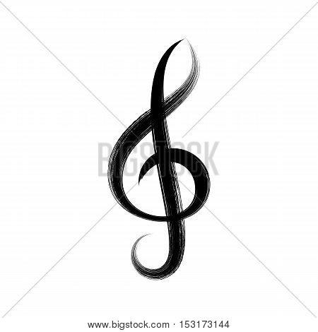 Black vector treble clef icon brush strokes design