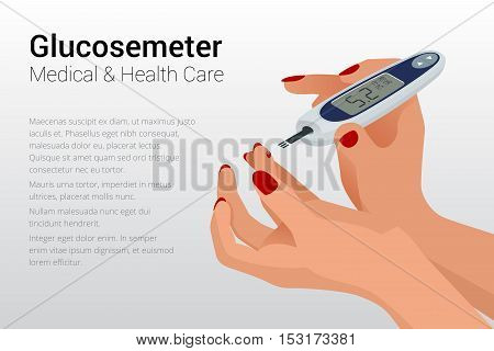 Isometric Diabetes health-care life flat concepts. Illustration for Web, Presentations and Mobile Application