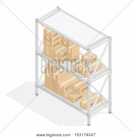 Metal Isometric 3D shelvings with cardboard boxes in flat style. Warehouse storage concept. The set of objects isolated against the white background and shown from different sides. Design elements.