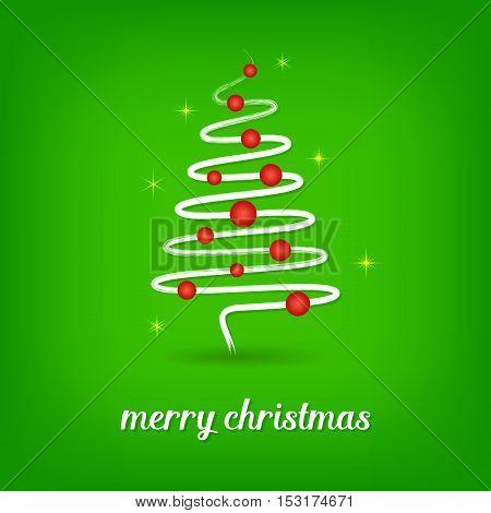 Green vector christmas card with white christmas tree