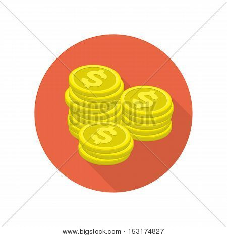 Big stacked pile of gold coins vector icons. Heap of cash, American dollars, pack, parcel, batch, flock, package modern design isolated on white background in flat style.