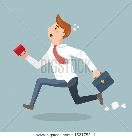 Employee with a cup of coffee and briefcase late for work. Man in suit run and late for work or a meeting. Vector illustration in a flat style.