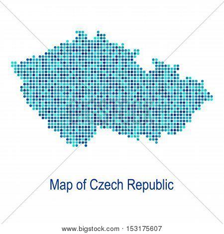 Blue map of czech republic vector dot pattern