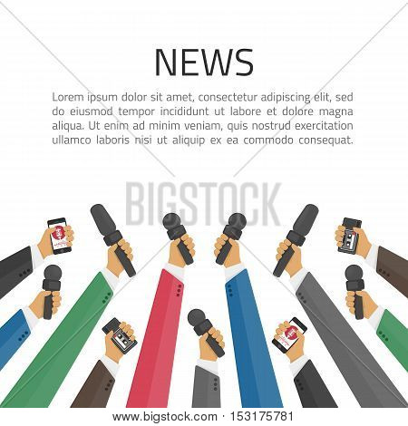 News banner poster vector template. Set of microphone. Concept of Media tv and interview, information for television, broadcasting mass and communication. Live report, live news illustration.