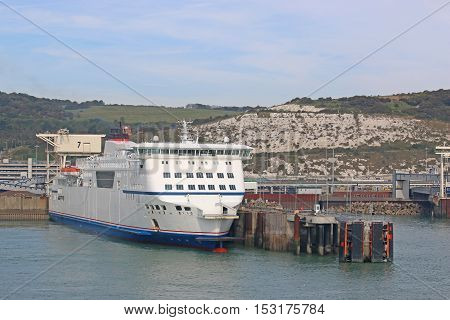 Ferry berthed in Dover Harbor in England