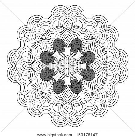 uncolored hand drawn pattern. Mandala pattern. Can be used as anti-stress coloring tracery.
