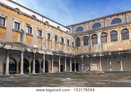 inner courtyard of convent of Santo Stefano, Church of St. Stephen in Venice