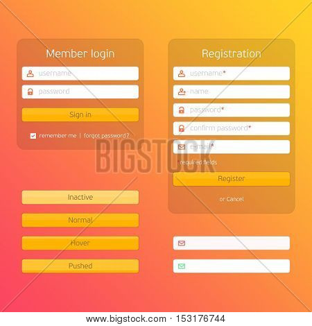 Registration form and login form. For web page, site, mobile applications, art illustration, design theme, modern menu, ui, app, contact empty box, banner profil log in