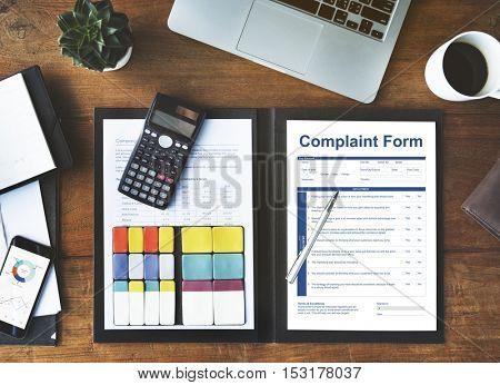 Complaint Form Document Agreement Concept