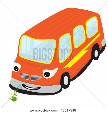 Cartoon smiling bus smelling a flower isolated on a white background. Vector illustration