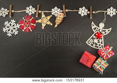 Wishes for Christmas and angel. Decorations for the presents. Preparing for Christmas Eve.