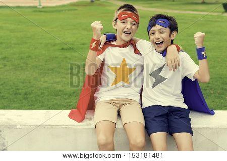 Superheroes Kids Boy Friend Buddy Concept