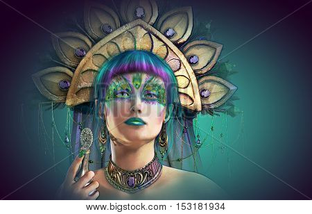 3d computer graphics of a portrait of a lady with headgear and makeup in fantasy style