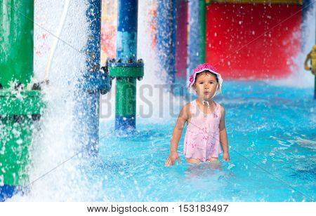 little girl afraid of water in aqua park