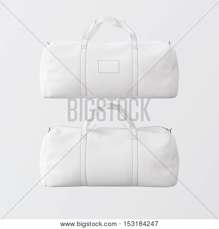 Sport fashion white bag with handles isolated at the clean background.Highly detailed texture materials in square photo.Empty mockup label on front side.Double sided mock up.3D rendering.