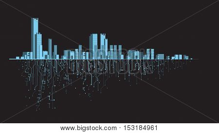Futuristic city. Banner. Creative idea Future city