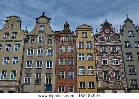 Facade historic tenement houses building in Gdansk