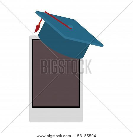 smartphone device with graduation cap over white background. vector illustration