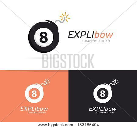 Vector logo combination of a billiard ball and bomb. Explosion and number logo. Billiard ball and bomb symbol or icon. Unique snooker and destruction logo design template. Creative black ball bomb logo.