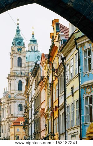 PRAGUE, CZECH REPUBLIC - OCTOBER 8, 2014: View of the intersection of streets Mostecka and Malostranske namesti
