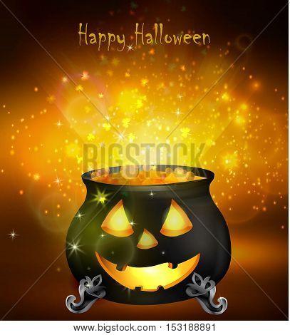 Halloween witches cauldron with Jack O Lantern face yellow potion on dark background, illustration.