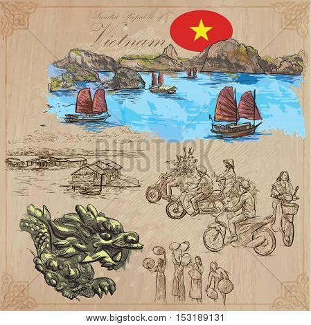 Travel series VIETNAM. Socialist Republic of Vietnam. Pictures of Life. Colored vector collection of an hand drawn illustrations. Line art set. Pack of hand drawn colored illustrations. Sketches.
