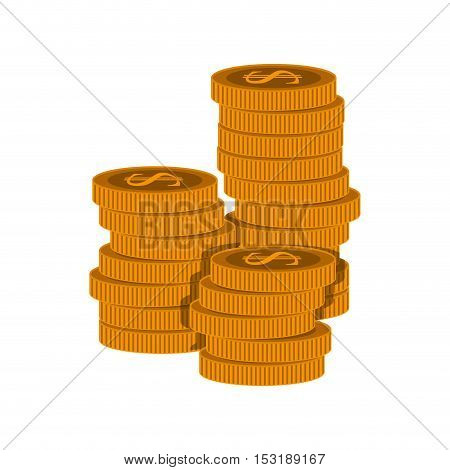 gold money coins stack over white background. vector illustration
