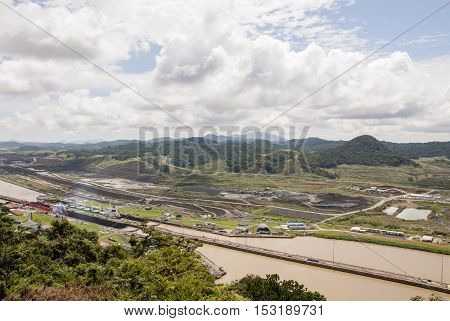 Panama Canal in a summer sunny day - Panama Canal November 22nd 2013