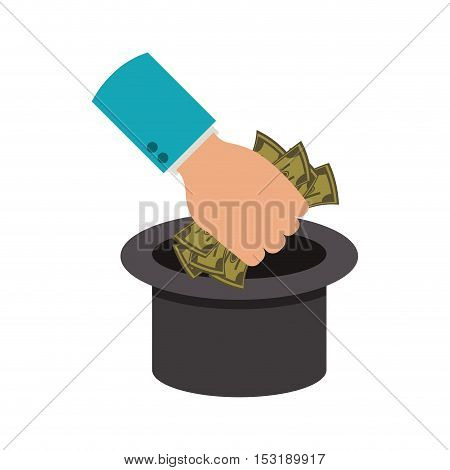 human hand holding a money green bills throwing to top hat over white background. vector illustration