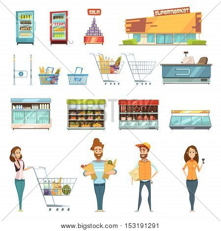 Supermarket grocery shopping retro cartoon icons set with customers carts baskets food and products  isolated vector illustration