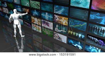 Digital Data Management and Content Aggregation Concept 3D Illustration Render