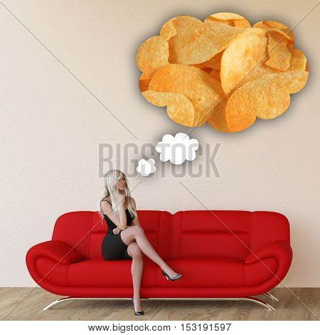 Woman Craving Potato Chips and Thinking About Eating Food 3D Illustration Render