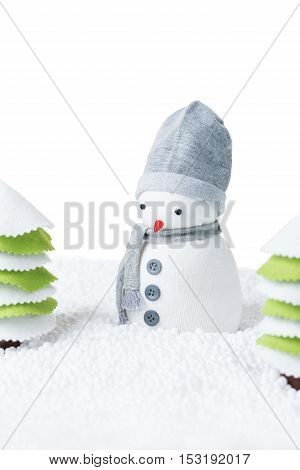 Cute festive snowman in a forest isolated on white background blank space for text
