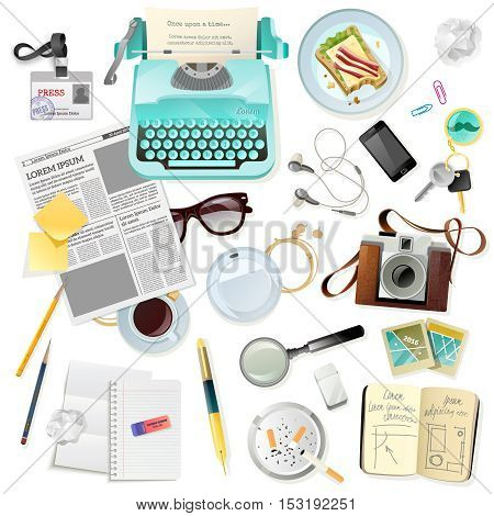 Vintage set of accessories for journalist writer typist with typewriter photo camera paper notepad fountain pen flat isolated vector illustration