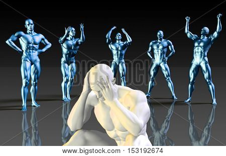 Suffering From Depression or Pressure At Work or Office 3D Illustration Render