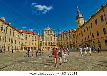NESVIZH, BELARUS - 28 July 2016: Internal square of Nesvizh Medieval Castle in Belarus