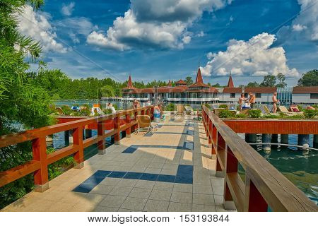 HEVIZ, HUNGARY - 15 August 2016: Entry to Heviz Themal Water Lake Resort with sign saying