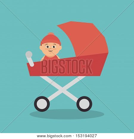 cute baby in cart vector illustration design