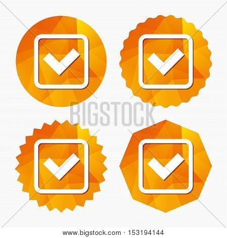 Check mark sign icon. Yes square symbol. Confirm approved. Triangular low poly buttons with flat icon. Vector