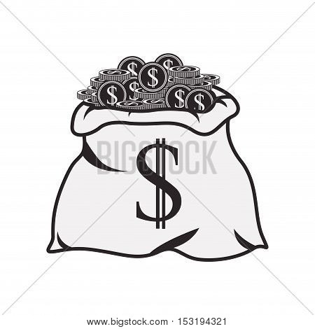 money sack with coins icon silhouette  over white background. vector illustration