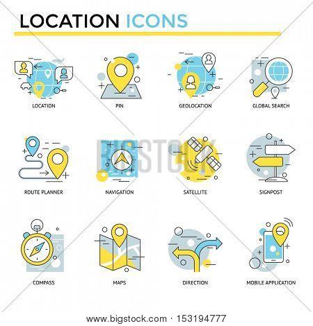 Location icons, thin line, flat design