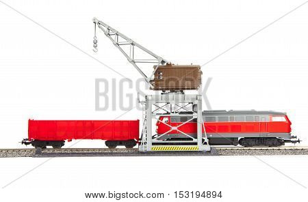 Toy Railroad Crane Loco And Wagon