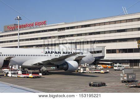 5 November 2015 - Japan Airlines (jal) Airplanes In Tokyo International Airport Haneda, Japan