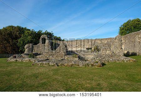 Ancient Norman Castle ruins at Eynesford, Kent