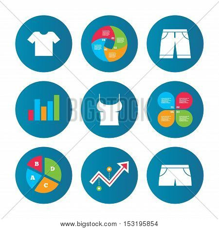 Business pie chart. Growth curve. Presentation buttons. Clothes icons. T-shirt and bermuda shorts signs. Swimming trunks symbol. Data analysis. Vector